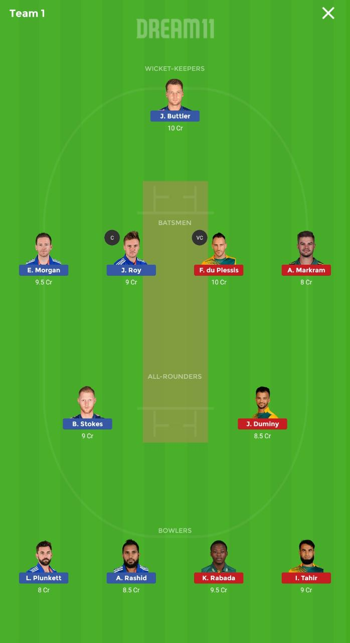 ICC World Cup 2019- England vs South Africa- Game 1